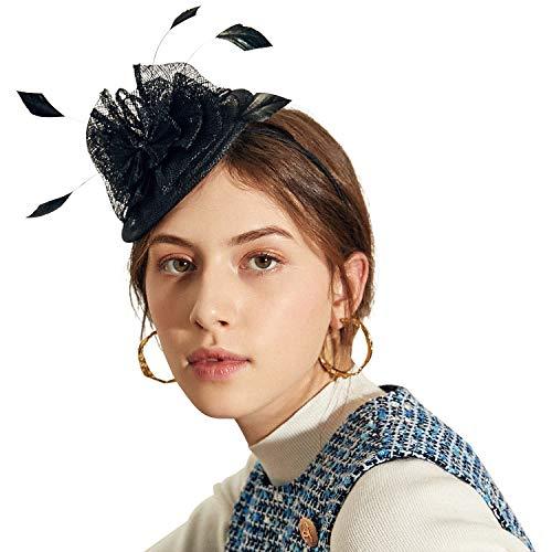 Deevoov Frauen Fascinators Hut Stirnband Kleine Damen Frisur Haarband Blume Federn Royal Ascot Race Sinamay Schwarz