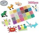 Ensemble entièrement équipé 3600 pièces de 24 perles de couleurs (comprennent 6 couleurs de bijoux) 1 plateaux carrés réutilisables de taille L. 2 bac réutilisable de format M (carré, diamant). 4 bac réutilisable de taille S facile (ours, lapin, étoi...