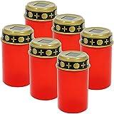 COM-FOUR® 6x LED Grablicht Kerze'Ewiges Licht' in rot Solarbetrieben mit Dämmerungssensor (06 Stück - solar)