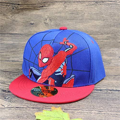 Spiderman Alt 5 Kostüm Jahre - mlpnko Hut Neue Kinder Flache Baseballmütze Stickerei Spider-Man Junge Hip-Hop Hip-Hop Hut Mädchen Kappe blau etwa 2-8 Jahre alt