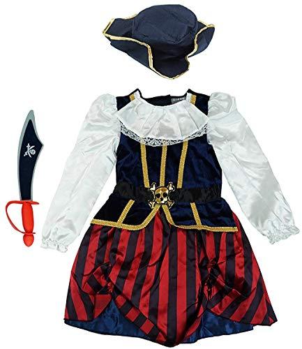 Get Wivvit Mädchen Piraten Kleid Hut & Schaum Schwert Kostüm Verkleidung Outfit Größe 2 Sich 4 Jahre - Multi, 2-4 Years