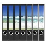 7 x Akten-Ordner Etiketten/Design Aufkleber/Rücken Sticker/Türkises Meer/für schmale Ordner/selbstklebend / 3,7 cm breit