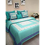 Ayush Gems Cotton Rajasthani Bedsheet With 2 Pillow Cover 100% Cotton Double Bedsheet (Multicolour, Double Bed)