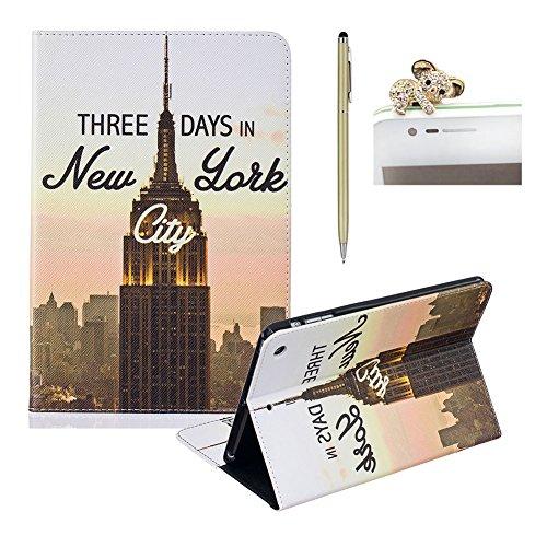 ipad mini 1/mini 2/mini 3 Hülle Klappbar ,SKYXD New York City Gebäude Muster [Auto Schlaf/Wach Funktion] PU Folio Schutzhülle [Standfunktion/Brieftasche Kartenfach/Magnet] Klapphülle mit Zubehör [Koala Handyanhänger + Eingabestift] Handy Tasche Etui für Apple ipad mini 1/2/3 Case Bookstyle Flip Leather Cover With Touch Pen and Dust Plug