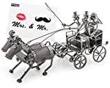 """Carrozza da sposa in metallo, lunghezza 37 cm, dono di nozze con biglietto d'auguri """"Mr. & Mrs."""", fine soprammobile"""