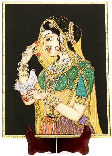 Exotic India Nayika mit Messenger Taube-Miniatur-Malerei auf Marmor -