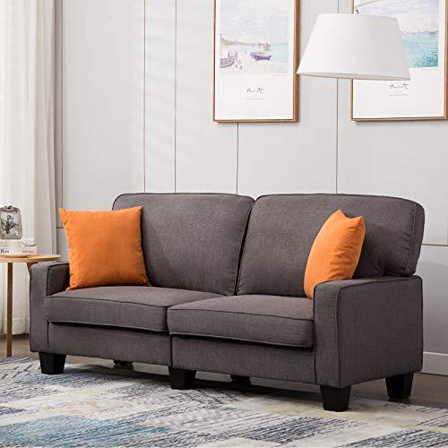 mecor 2-Sitzer-Sofa Leinensofa Wohnzimmermöbel für Wohnzimmer mit bequem weich Leinenstoff solide Konstruction in dunkelgrau