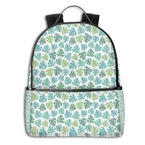College Backpacks for Women Girls,Abstract Design Green Tones Exotic Leaves Tropic Botany On Plain Background,Casual Hiking Travel Daypack Womens Plain Front Chino