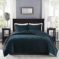 مجموعة سرير لحاف من Madison Park Harper Velvet Cal King Size ، King King ، أزرق مائل للأخضر