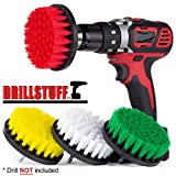 Drillstuff 4In 4 Piece Soft, Medium and Stiff Power Scrubbing Brush Drill Attachment for Cleaning Showers, Tubs, Bathrooms, Tile, Grout, Carpet, Tires, Boats
