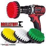 Drillstuff 4In 4 Stück Soft, Medium und steif Leistungsschrubber Bohraufsatz für die Reinigung Duschen, Wannen, Bäder, Fliesen, Mörtel, Teppich, Reifen, Boote gelb, grün, rot, weiß