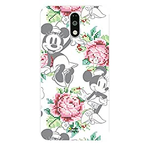 Hamee Official Disney Mickey Mouse & Minnie Mouse Hard Case Back Cover for Motorola Moto G4 Plus / Moto G 4th Generation - Tile