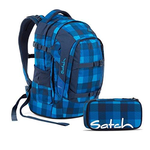 Satch Pack Skytwist Schulrucksack Set 2tlg, Blau Kariert