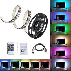 Tiras LED Iluminación 100cm de VicTsing, 300 MP RGB Retroiluminado Multicolor Kit Con Mando a distancia y Cable de Alimentación USB para Decoración del Hogar.