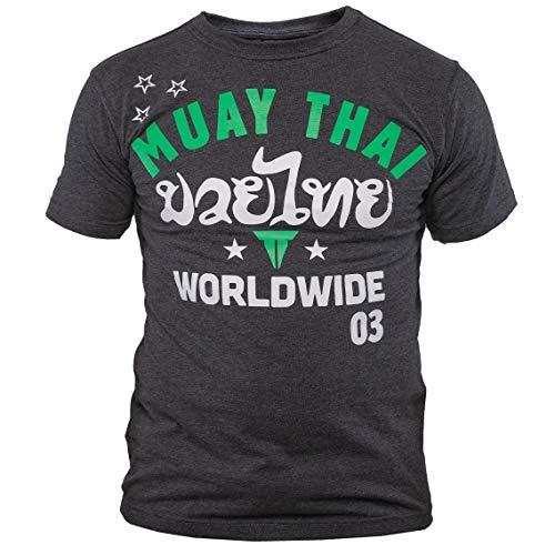 Throwdown Muay Thai T-Shirt Stripes - Charcoal - Sport Freizeit Gym Thaiboxen Kampfsport Shirt - Muay Thai Oberteil Kurzarm für Herren (XL)