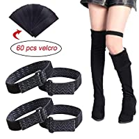 Briday 2 Pair Knee Boots Straps with 60 pcs Velcro Elastic Adjustable Boots Straps, Comfortable and Easy to Use Keeping Boots no Fall Off (2 Pair)