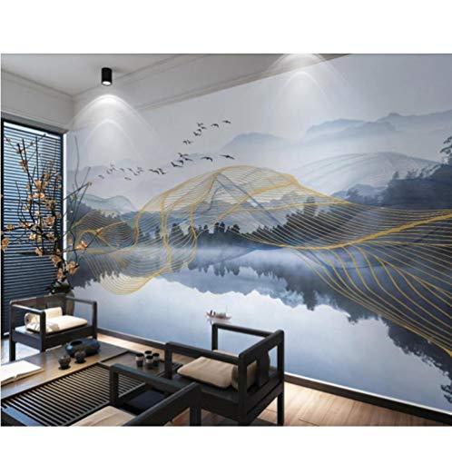 Neuheit Leinwand (QThxqa Abstrakte geometrische Tapete Gold Line wasserdichte Leinwand LuxusNeuheit HDTapetenRolls Home Decor Custom)