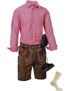 Trachtenset Herren, komplett, Lederhosenset, 4 Teilig, echtes Leder, kurze, braune Lederhose, Trachtenhemd, Trachtenschuhe...