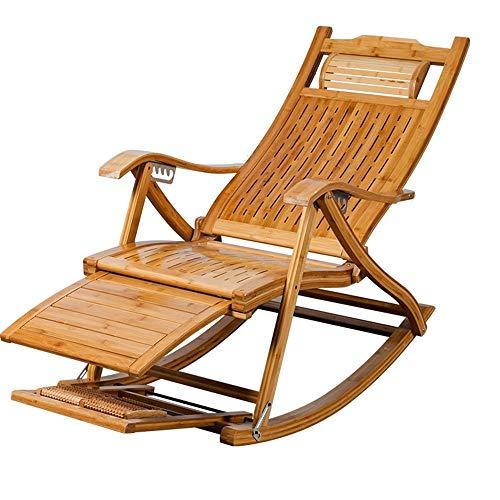 Oevina Chaise Lounges Schaukelpatio Stuhl Liege Stuhl Alter Mann Bambus Klappstühle Sommer Nickerchen Bett Für Büro Strand Außenpool 6 Grade Einstellbar -