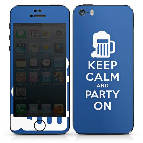 Apple iPhone 5c Case Skin Sticker aus Vinyl-Folie Aufkleber Keep Calm Party Bier DesignSkins® glänzend