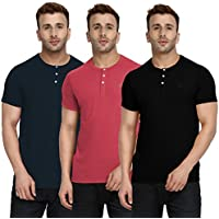 CHKOKKO Half Sleeve Cotton Casual Round Neck Tshirts Henley T Shirts for Men Combo of 3 Black Pink Peach Blue 4XL Size