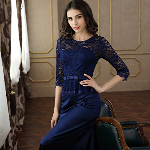 Miusol Damen Abendkleid 3/4 Arm Elegant Spitzen Kleid Brautjungfer Langes Cocktailkleid Navy Blau Gr.L - 4
