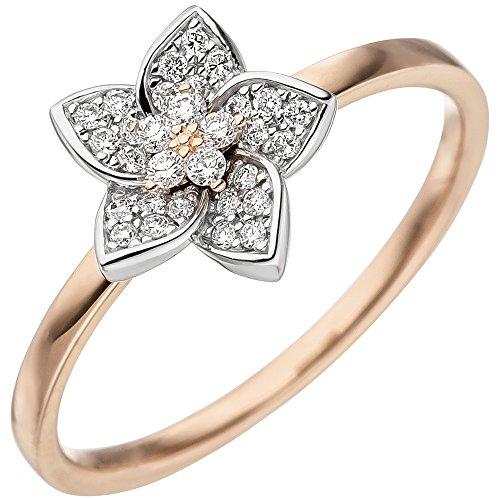 JOBO Damen Ring 585 Gold Rotgold Weißgold bicolor 30 Diamanten Brillanten Rotgoldring Größe 52
