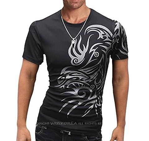 Homme T-shirt de Loisir Moulant Coton Manches Courtes Tatouage Impression en Couleur divers Noir Taille FR L (Asie 3XL)