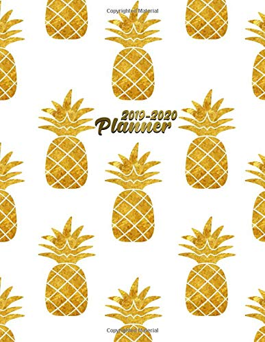 2019-2020 Planner: Nifty Golden Pineapple Daily, Weekly and Monthly Planner. Pretty 2 Year Organizer, Schedule and Agenda with Inspirational Quotes, Notes, To-Do's, Vision Boards, ... por Simple Planners