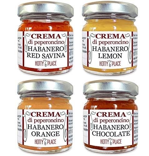 KIT 4 HABANERO Chili Paste RED SAVINA - CHOCOLATE - ORANGE - LEMON chili MITTEL...