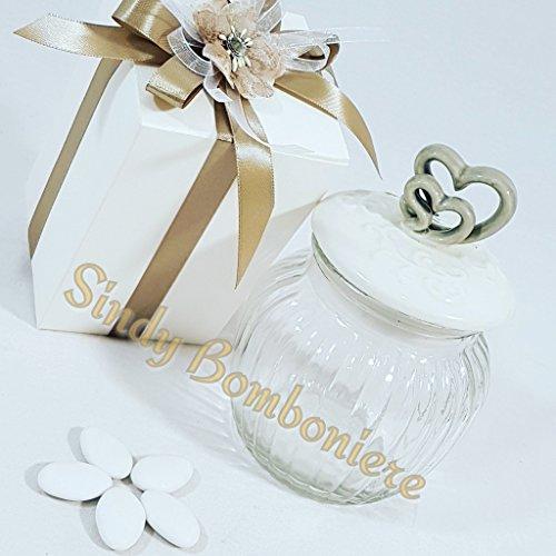 Sindy bomboniere bomboniera barattolo vetro ceramica sposi matrimonio cuori sb