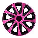(Farbe & Größe wählbar) 14 Zoll Radkappen, Radzierblenden Draco Bicolor (Schwarz/Pink) passend für fast alle Fahrzeugtypen (universal)