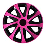(Farbe & Größe wählbar) 13 Zoll Radkappen, Radzierblenden Draco Bicolor (Schwarz/Pink) passend für fast alle Fahrzeugtypen (universal)
