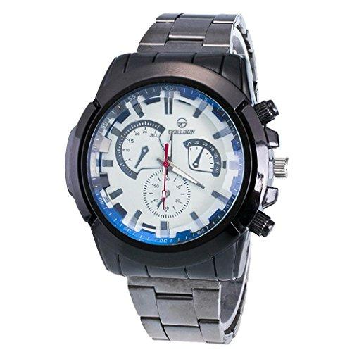 Ouneed® Uhren, Weihnachts geschenke Fashion Men Motion Form Stainless Steel Sport Quartz Hour Wrist Analog Watch (Weiß)