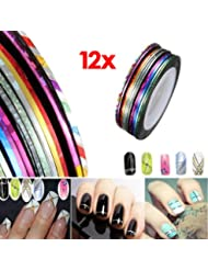 12pcs Sticker Fil Bandes Striping Tape Autocollant Manucure Ongle Nail Art Tips