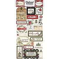 Carta Bella Paper Company CBCH89022 Christmas 6x12 frases de aglomerado, rojo, verde, negro, marrón