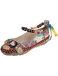 Ballerines Chaussure Rétro Ethniques Perles Femmes, QinMM Rondes Orteil  coloré Casual Chaussures de Coton Tissées 188869af7ef4