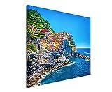 XXL Fotoleinwand 120x80cm Landschaftsfotografie - Farbenfroher Hafen, Cinque Terre, Italien auf Leinwand exklusives Wandbild moderne Fotografie für ihre Wand in vielen Größen