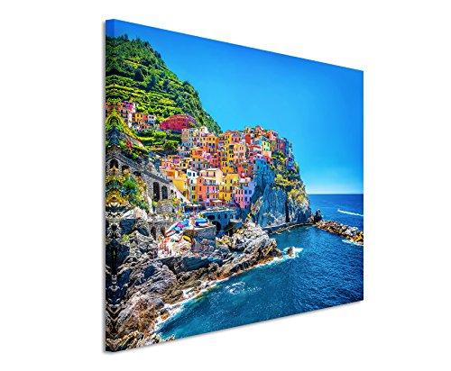 XXL Fotoleinwand 120x80cm Landschaftsfotografie – Farbenfroher Hafen, Cinque Terre, Italien auf Leinwand exklusives Wandbild moderne Fotografie für ihre Wand in vielen Größen