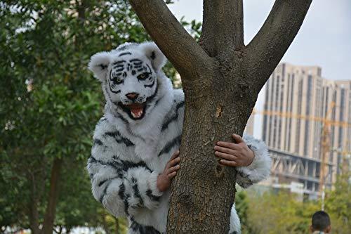 LZY Masken Lustige Halloween Kostüm Theater Prop Neuheit Fell Tiger Led Kopf Tiere Maske Cosplay,Weiß (Für Erwachsene Weiße Tiger Kostüm)