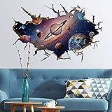 WandSticker4u- Sticker mural: le système solaire en 3D - Effet: 60 x 90 cm - Univers Galaxy Planète Mars Saturn de soleil Terre - Autocollant & Amovible Tableau pour chambre d'enfant Grand