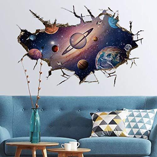 WandSticker4U- Wandtattoo in 3D Optik: SONNENSYSTEM | Wandbild: 60x90 cm | Wandsticker Weltraum Universum Galaxie Planeten Weltall Wand-aufkleber Poster | Deko für Kinderzimmer Kinder Junge GROSS