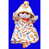 Gurukripa New Born Baby High Quality Extra Soft To Baby Delicate Skin Cartoon Print Hooded Housiry Chaddar Cum Odddna Wrapping /Wrapper Sheet Single Layer Baby Sleeping Bag Baby Cotton Sheet (Orange)