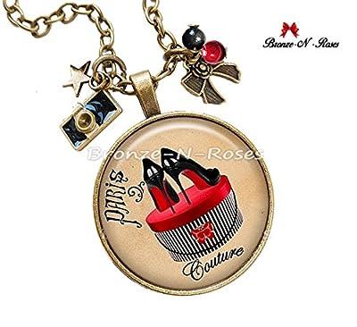 Collier Paris couture bijou rouge cadeau noël chic bronze-n-roses