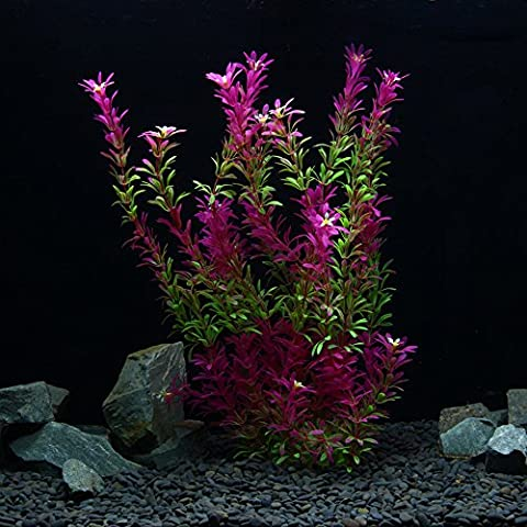 OWIKAR Aquarium Plants Artificial Plastic Aquarium Plants Red Gradient Color Fish Tank Decorations Landscape Lifelike Water Plants Detachable Leaves