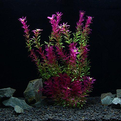 owikar Aquarium Pflanzen Künstliche Kunststoff Aquarium Pflanzen Rot Farbverlauf Farbe Fisch Tank Dekorationen Landschaft lebensechte Wasser Pflanzen Abnehmbare Blätter Glas Blumen Base