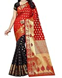 TITORIOUS FASHION WOMENS DESIGNER HALF AND HALF SILK SAREE WITH DESIGNER BLOUSE PIECE (TF-0051,BLACK)