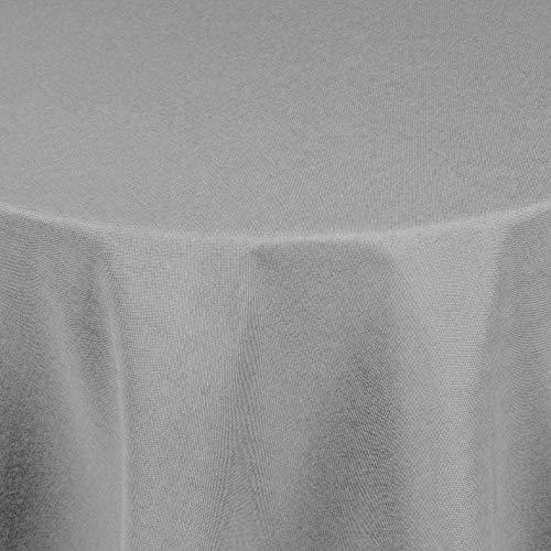 Brilliant Tafeldecke - Rund 140 cm Farbe wählbar - Silber / Hellgrau Tischdecke UNI Einfarbig mit Lotus Effekt