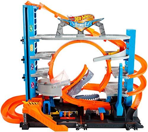 Super circuit Hot Wheels City Garage Ultime, coffret de jeu pour petites voitures