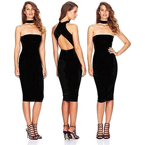 Alaix - Vestido de noche para mujer sin hombros ni mangas con escote palabra de honor falda